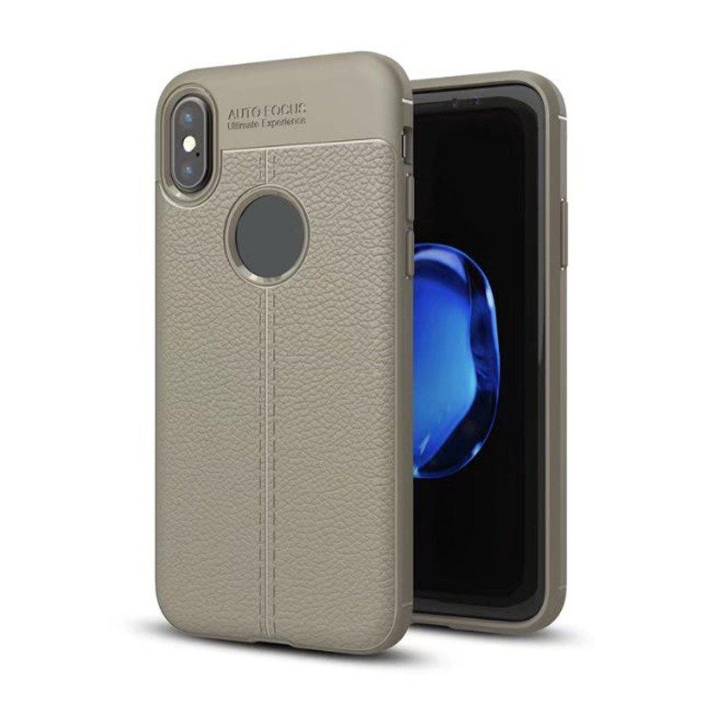 For iPhone X New Lychee Skin Pattern Full Bag TPU Phone Cover - GRAY