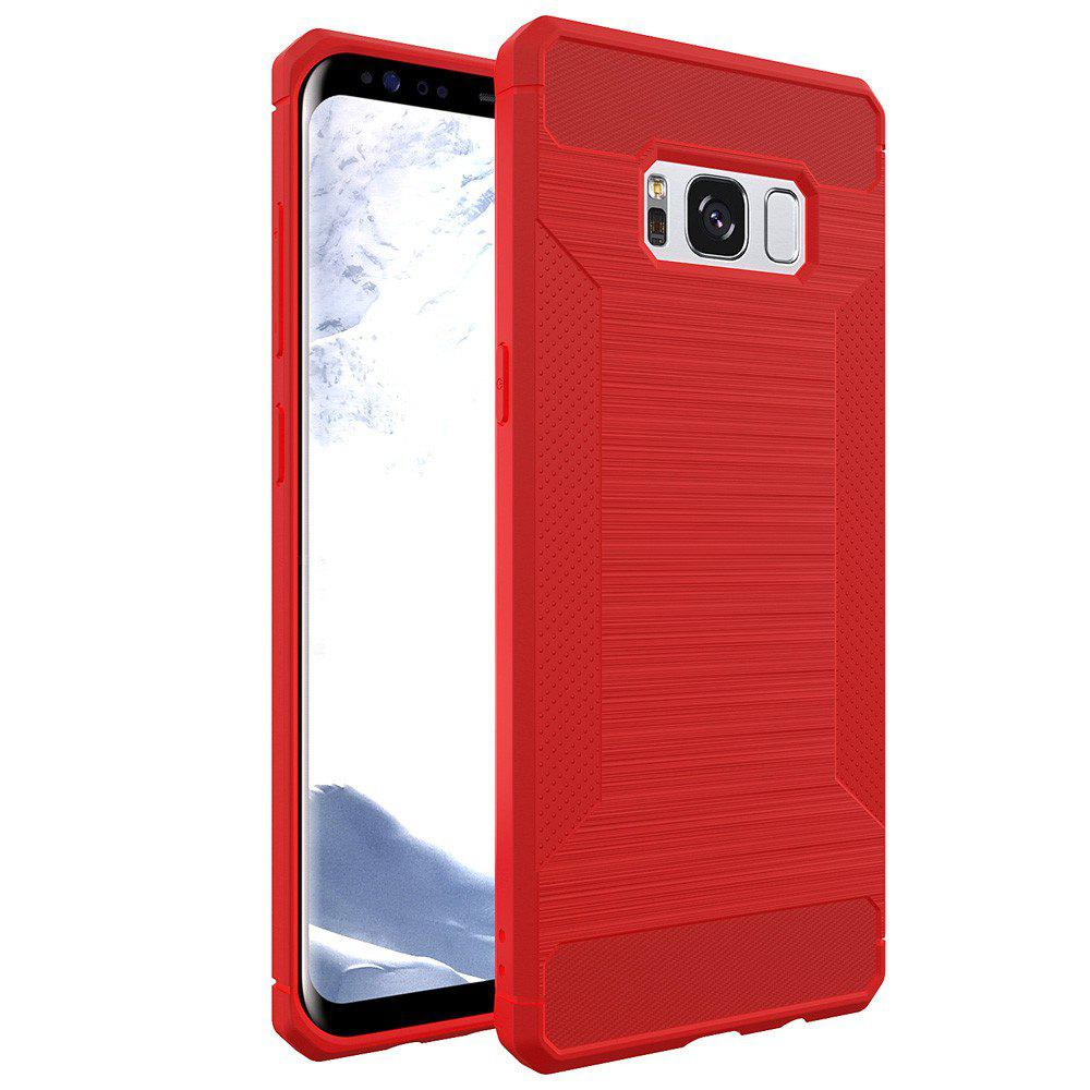 Voor for Samsung Galaxy S8 Telefoon Gevallen Luxe Business Carbon Fiber Soft TPU Ontwerp Cover Case - RED