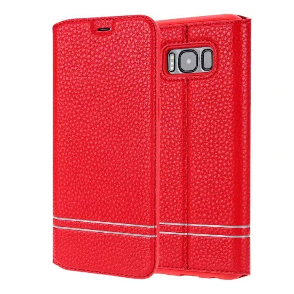 PU Leather Flip Wallet Card Case for Samsung Galaxy S8 - RED