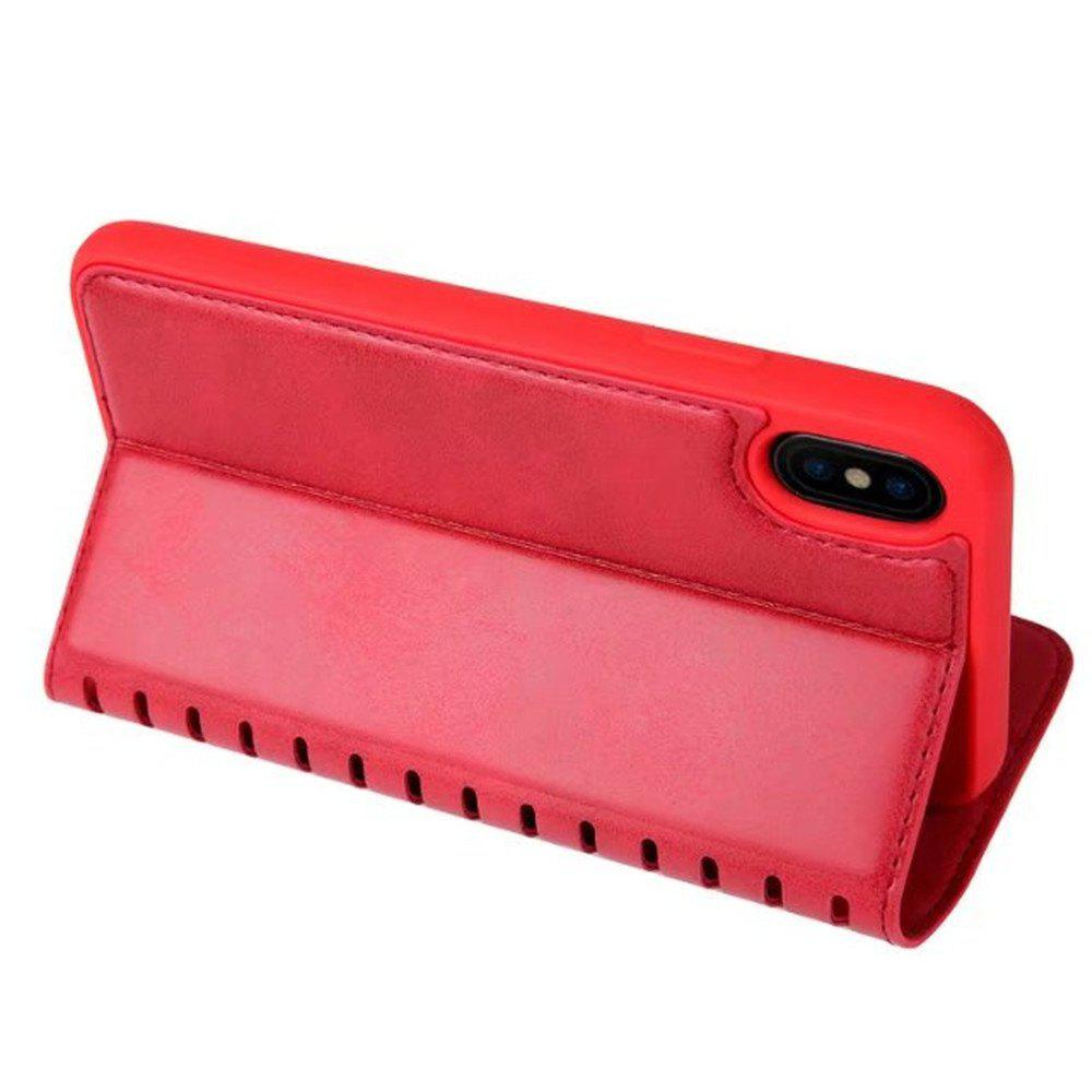 Luxury PU Leather Flip Card Case For IPhone X - RED