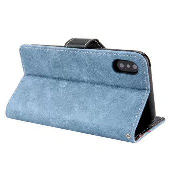 Restoring Ancient Ways PU Leather Flip Card Case For IPhone X - BLUE