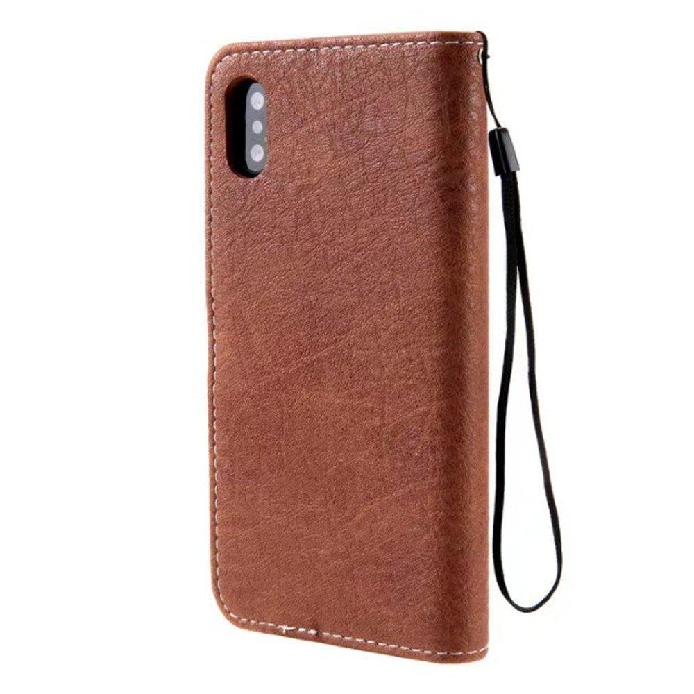 Restoring Ancient Ways PU Leather Flip Card Case For IPhone X - MOCHA