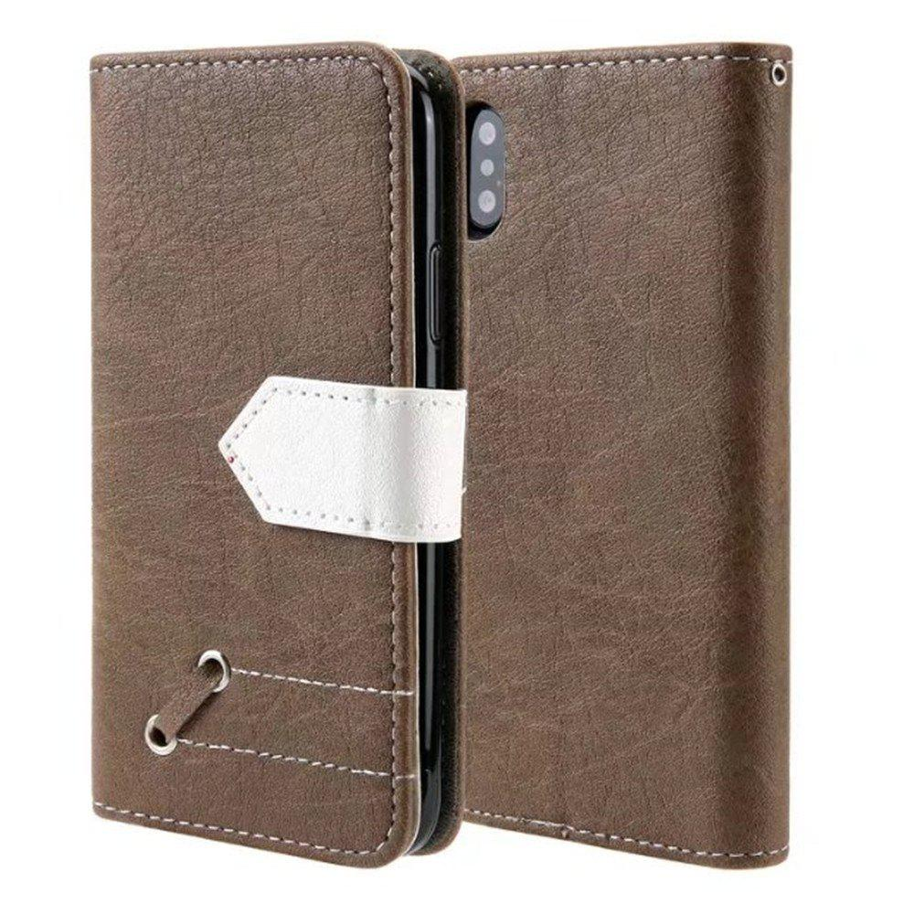 Restoring Ancient Ways PU Leather Flip Card Case For IPhone X - BROWN