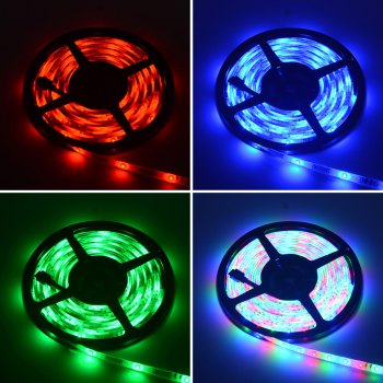 HML 5M RGB Waterproof LED Strip Light 2835 SMD 300 LEDs  with RF 10 Keys Remote Control and US Adapter - RGB