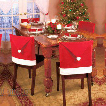 5pcs Christmas Decoration Red Hat Chair Cover - RED RED
