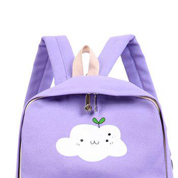 Simple Solid Color Canvas Cloud Printing Shoulder Bag 3pcs -  LIGHT PURPLE