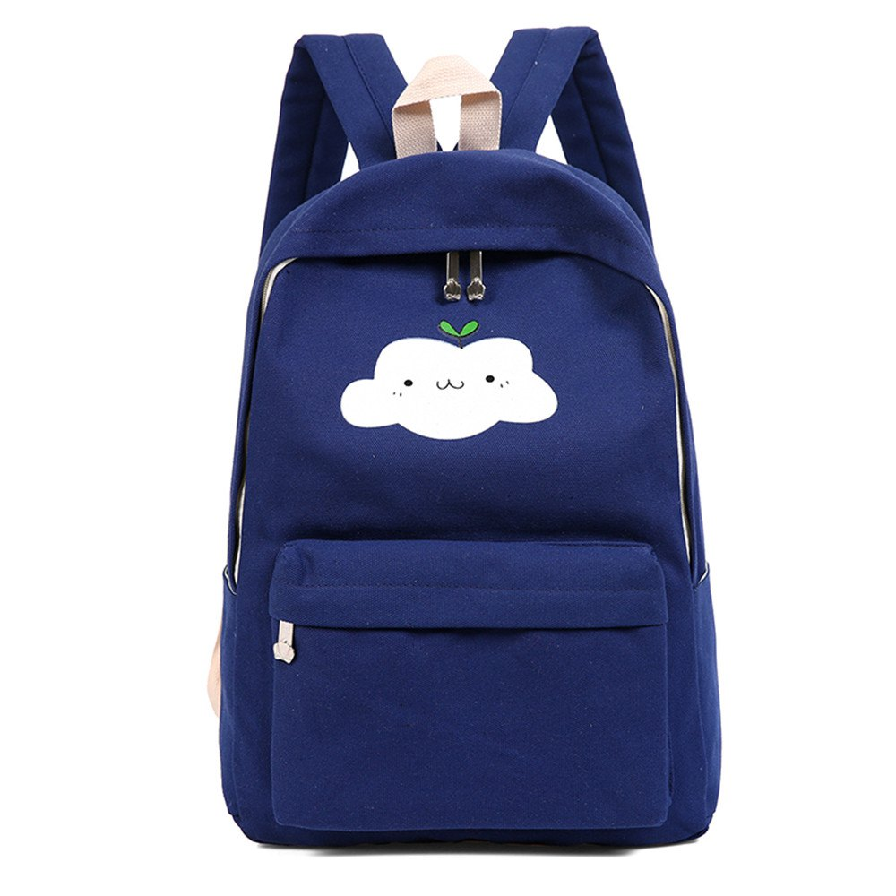 Simple Solid Color Canvas Cloud Printing Shoulder Bag 3pcs - DEEP BLUE