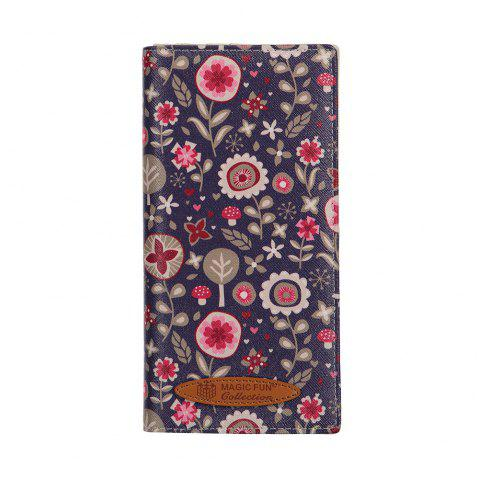 Colorful Personality and Simple Cartoon Pattern Leather Wallet - PURPLE