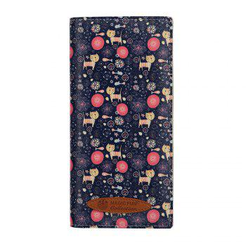 Colorful Personality and Simple Cartoon Pattern Leather Wallet - BLUE BLUE