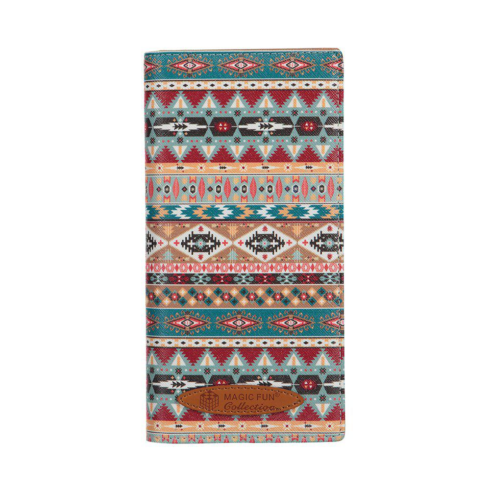 Colorful Personality and Simple Cartoon Pattern Leather Wallet - CHAMBRAY