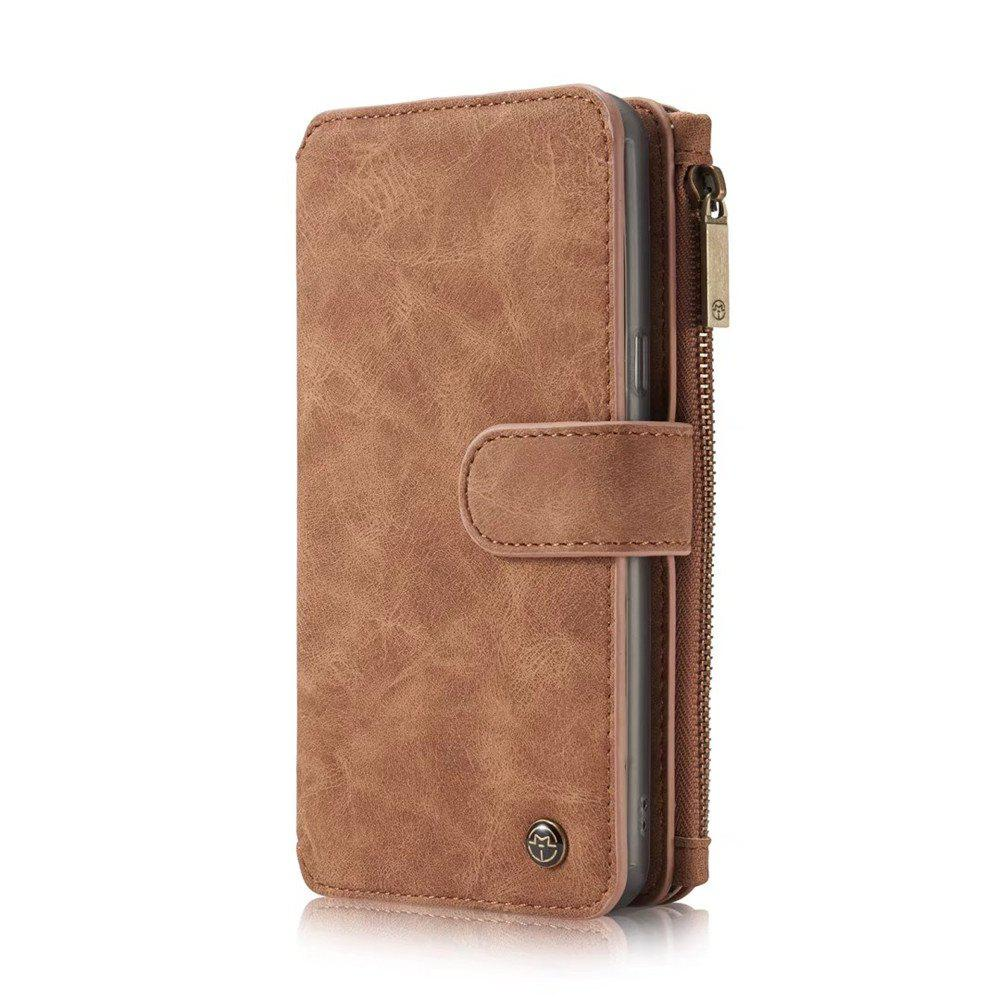 Multi-functional Leather Separable Zipper Purse Phone Case for Samsung Galaxy S8 - BROWN