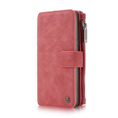 Multi-functional Leather Separable Zipper Purse Phone Case for Samsung Galaxy S8 Plus - RED