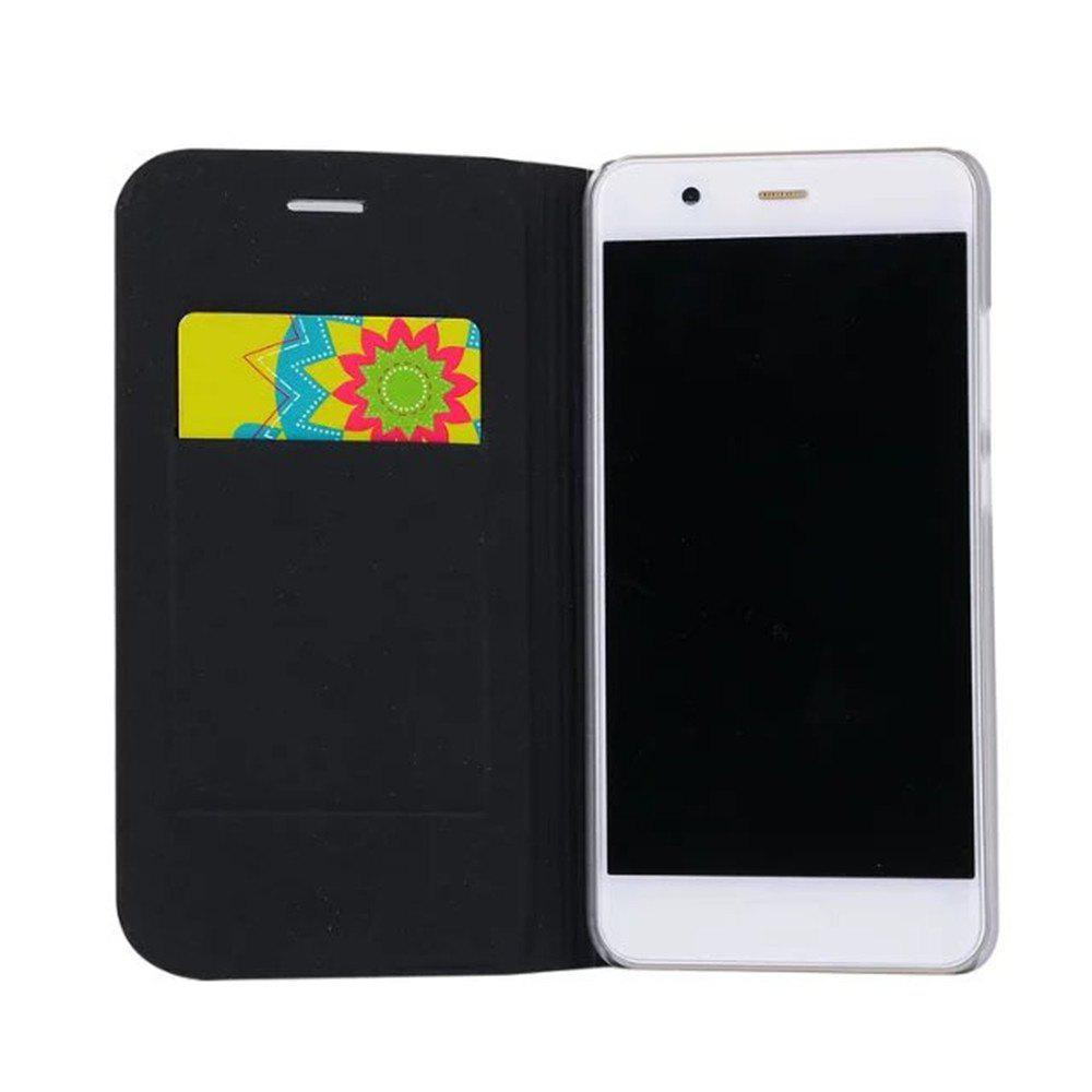 Case PU Leather Card Slot Protection Stand Mobile Phone Cover Case for Huawei P10 Lite Shells Capas - BLACK