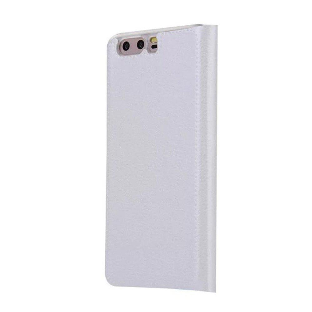 Case PU Leather Card Slot Protection Stand Mobile Phone Cover Case for Huawei P10 Lite Shells Capas - WHITE