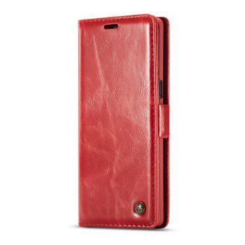 Vintage Leather Wallet Flip Case Handmade Premium Waxy Folio Cover for Samsung Galaxy Note 8 - RED