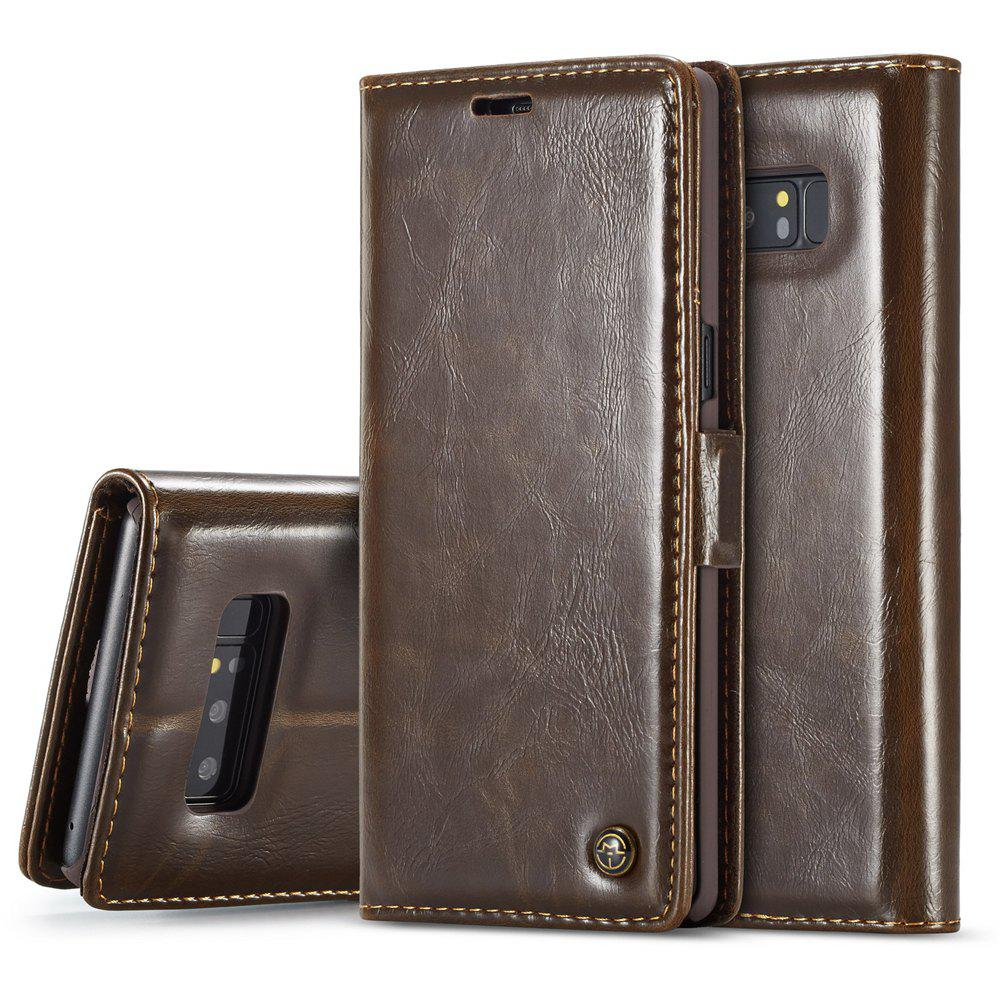 Vintage Leather Wallet Flip Case Handmade Premium Waxy Folio Cover for Samsung Galaxy Note 8 - BROWN