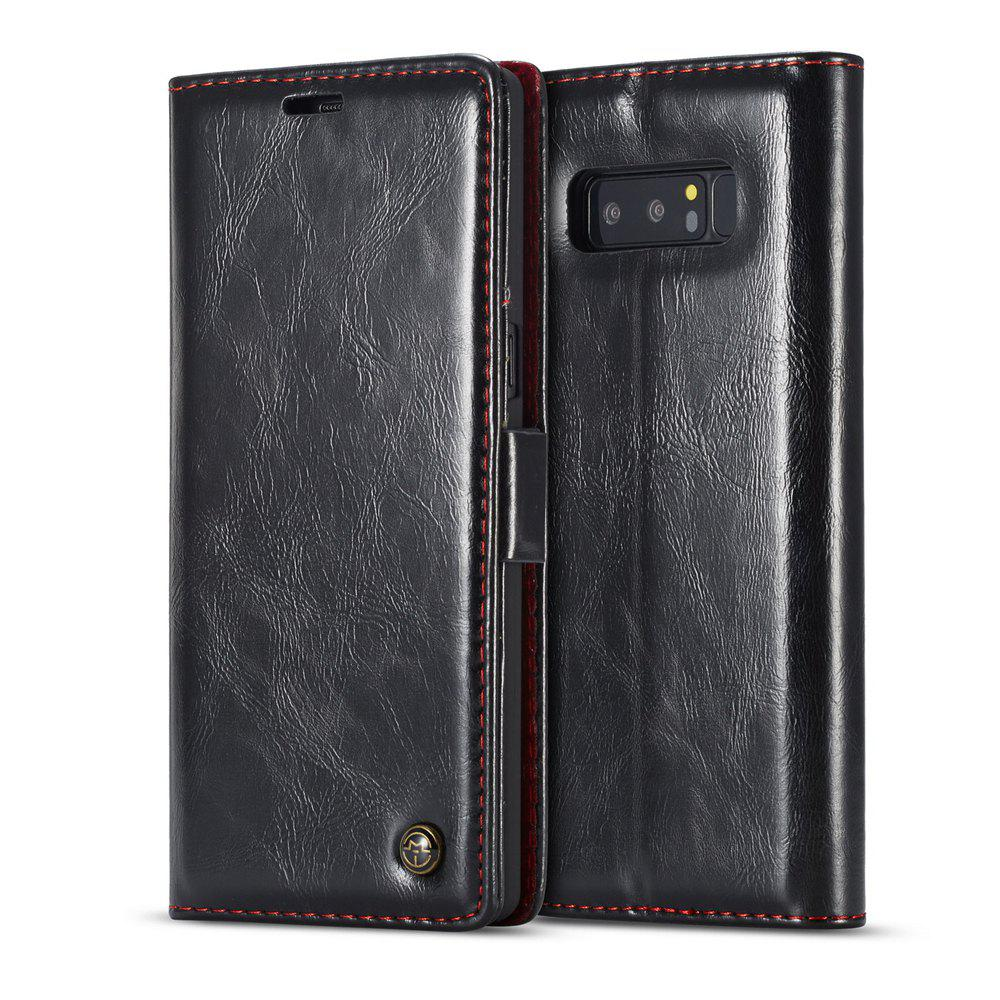 Vintage Leather Wallet Flip Case Handmade Premium Waxy Folio Cover for Samsung Galaxy Note 8 - BLACK