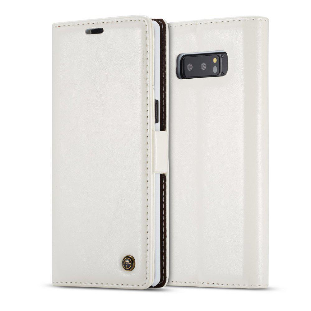 Vintage Leather Wallet Flip Case Handmade Premium Waxy Folio Cover for Samsung Galaxy Note 8 - WHITE