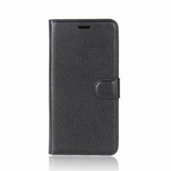 Litchi Texture PU Leather Case Folio Stand Wallet Case Cover with Card Slots for ZenFone 4 MAX ZC520KL - BLACK BLACK