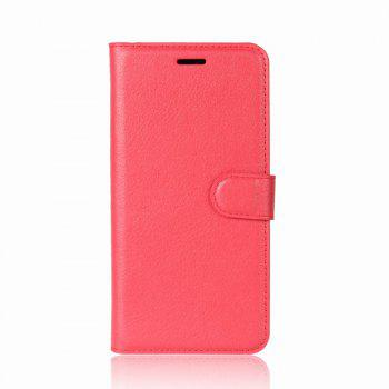 Litchi Texture PU Leather Case Folio Stand Wallet Case Cover with Card Slots for ZenFone 4 MAX ZC520KL - RED RED