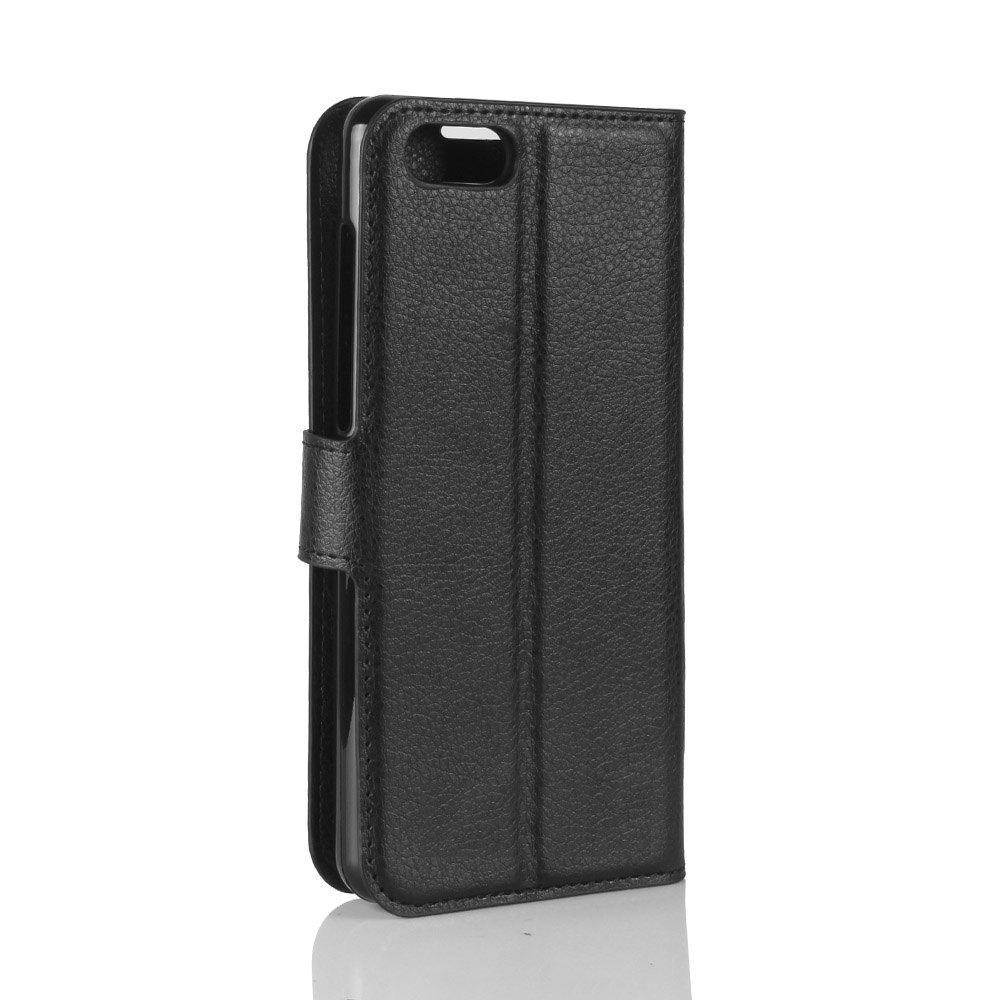 Litchi Texture PU Leather Case Folio Stand Wallet Case Cover with Card Slots for ZenFone 4 MAX ZC520KL - BLACK