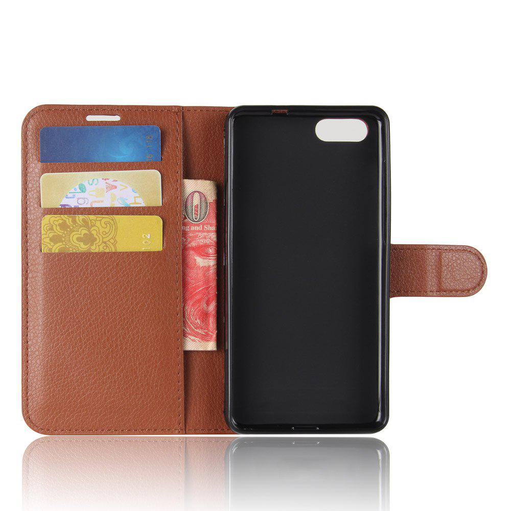Litchi Texture PU Leather Case Folio Stand Wallet Case Cover with Card Slots for ZenFone 4 MAX ZC520KL - BROWN