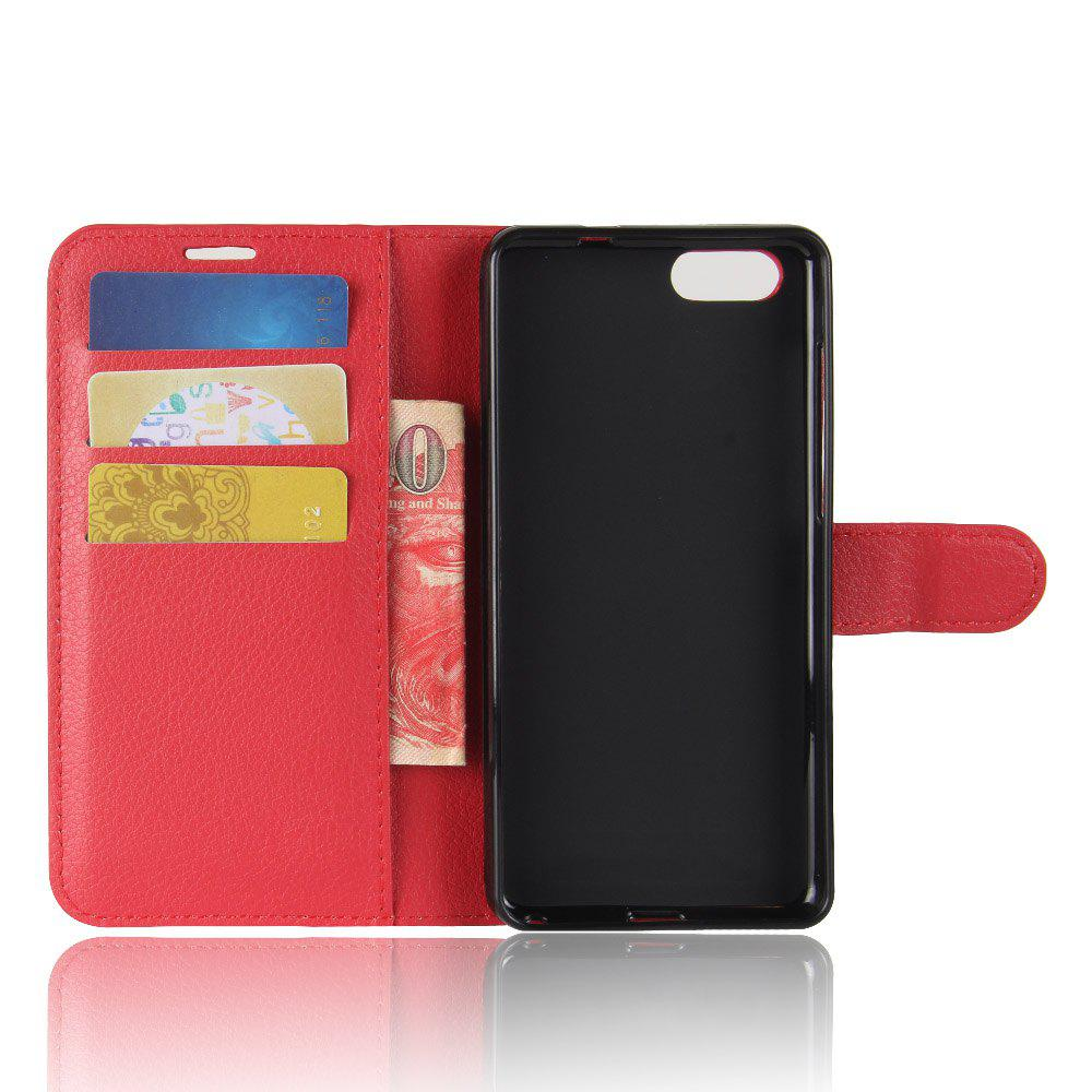 Litchi Texture PU Leather Case Folio Stand Wallet Case Cover with Card Slots for ZenFone 4 MAX ZC520KL - RED