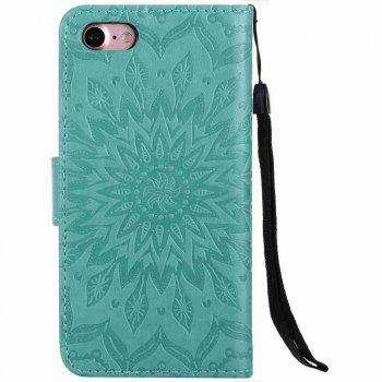 Double Embossed Sun Flower PU TPU Phone Case for  iPhone 7 / 8 - GREEN