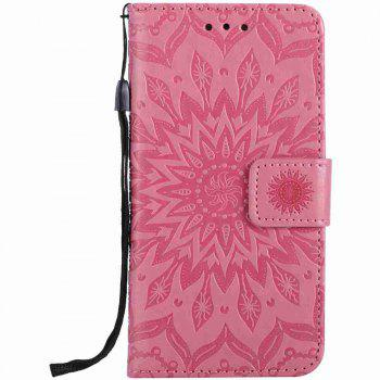 Double Embossed Sun Flower PU TPU Phone Case for  iPhone 7 / 8 - PINK