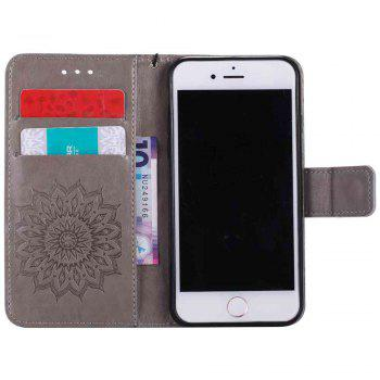 Double Embossed Sun Flower PU TPU Phone Case for  iPhone 7 / 8 - GRAY