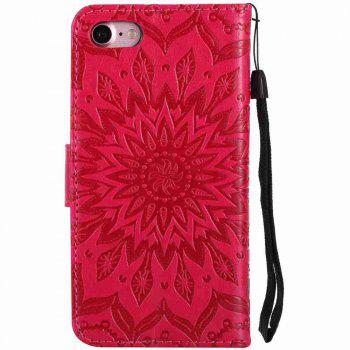 Double Embossed Sun Flower PU TPU Phone Case for  iPhone 7 / 8 - RED