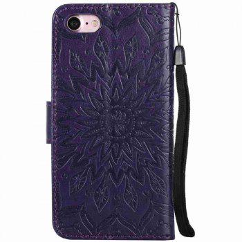 Double Embossed Sun Flower PU TPU Phone Case for  iPhone 7 / 8 - TAHITI