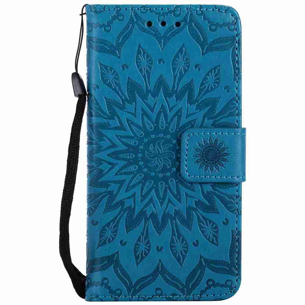 Double Embossed Sun Flower PU TPU Phone Case for  iPhone 7 / 8 - BLUE