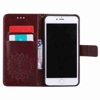 Double Embossed Sun Flower PU TPU Phone Case for  iPhone 7 Plus/ 8 Plus - BROWN
