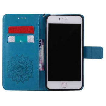 Double Embossed Sun Flower PU TPU Phone Case for  iPhone 7 Plus/ 8 Plus - BLUE