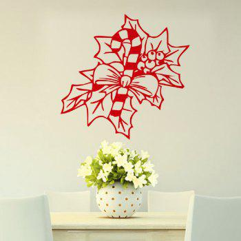 DSU Merry Christmas Leaf Wall Art Decal Vinyl Sticker Removable Decor - RED RED