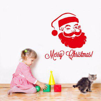 DSU Merry Christmas Wall Sticker Santa Snowman Decal Window - RED 58 X 58 CM