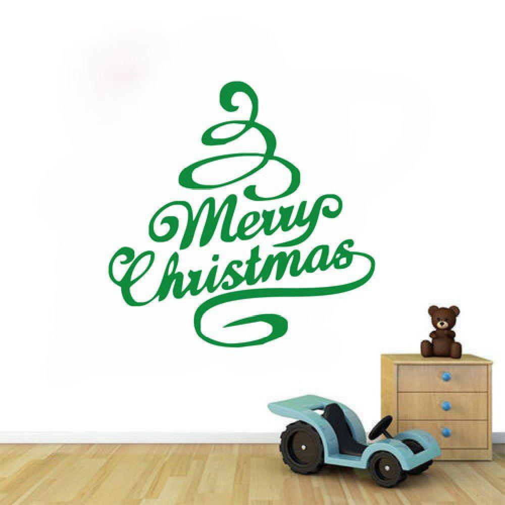 DSU Green Tree Festival Decor Merry Christmas Quote Wall Sticker - GREEN 43 X 43 CM