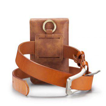 DG.MING Universal Cowhide Genuine Leather Belt Case for Mobile Phones 6.5 Inch or Smaller - BROWN