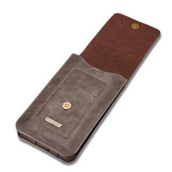 DG.MING Universal Cowhide Genuine Leather Belt Case for Mobile Phones 6.5 Inch or Smaller - GRAY