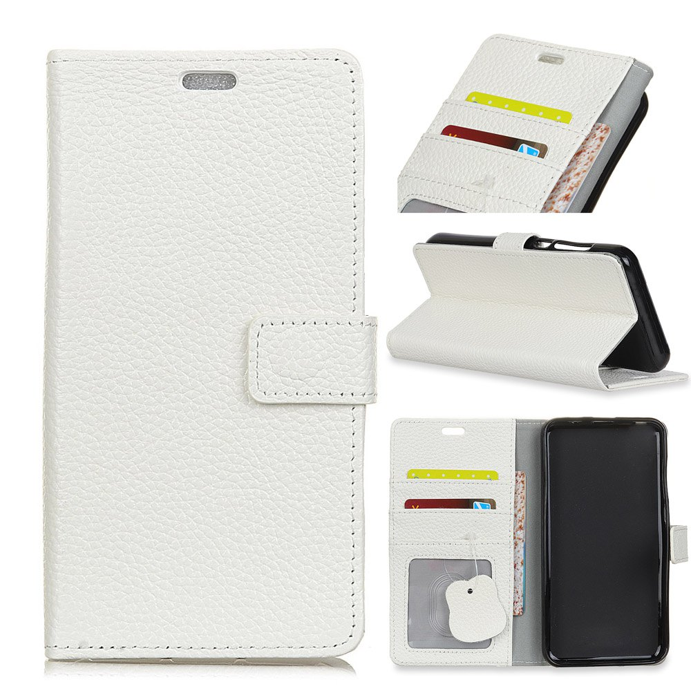 Wkae Solid Color Business Leather Holster for Huawei Hornor V9 Play - WHITE