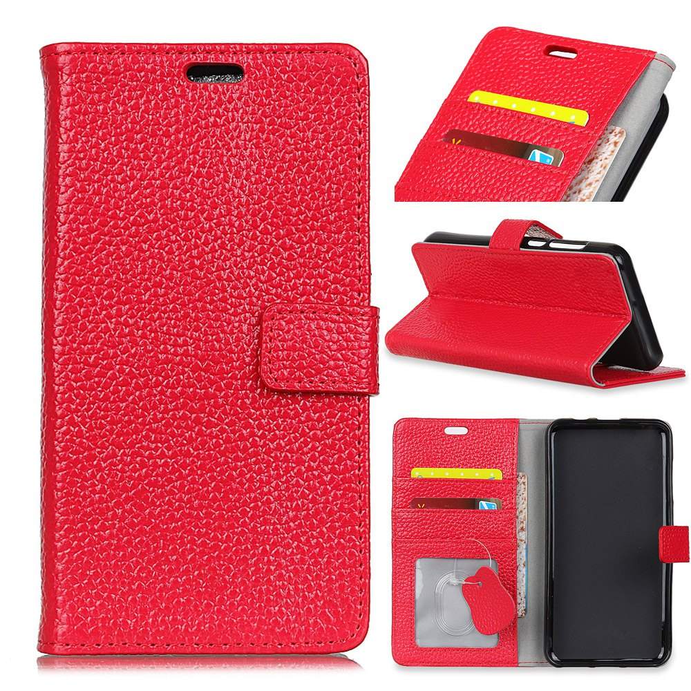 Wkae Solid Color Business Leather Holster for Samsung Galaxy J7 Plus - RED