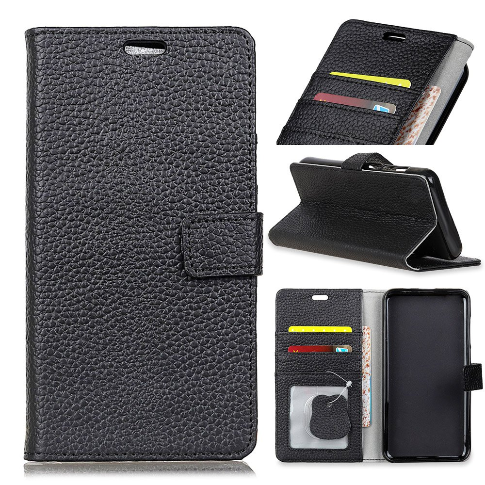Wkae Solid Color Business Leather Holster for Samsung Galaxy J7 Plus - BLACK