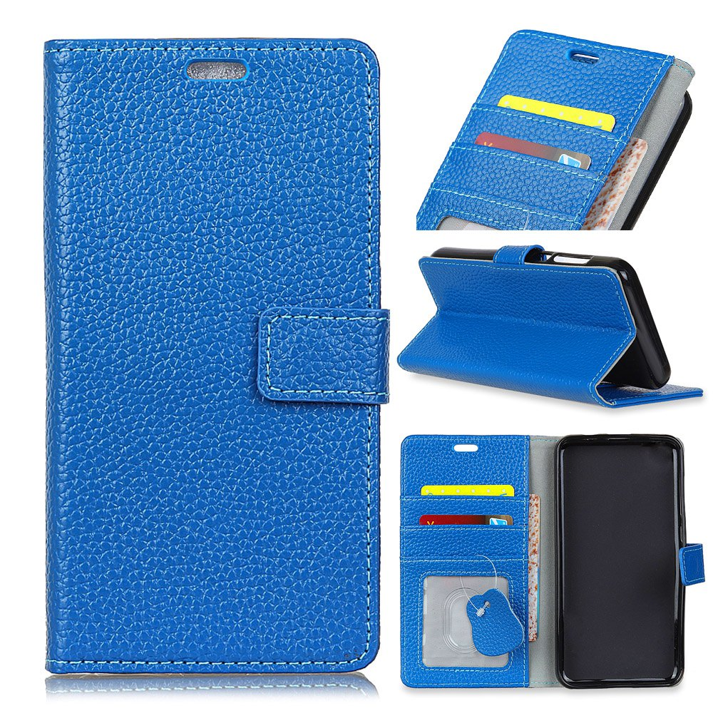 Wkae Solid Color Business Leather Holster for Samsung Galaxy J7 Plus - BLUE