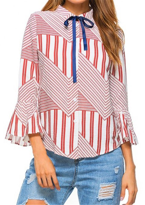 New Autumn Winter Plaid Contrast Color Flare Sleeve Shirt - RED XL