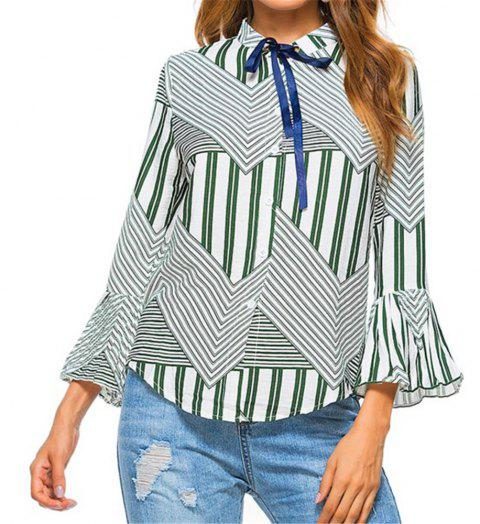 New Autumn Winter Plaid Contrast Color Flare Sleeve Shirt - IVY M