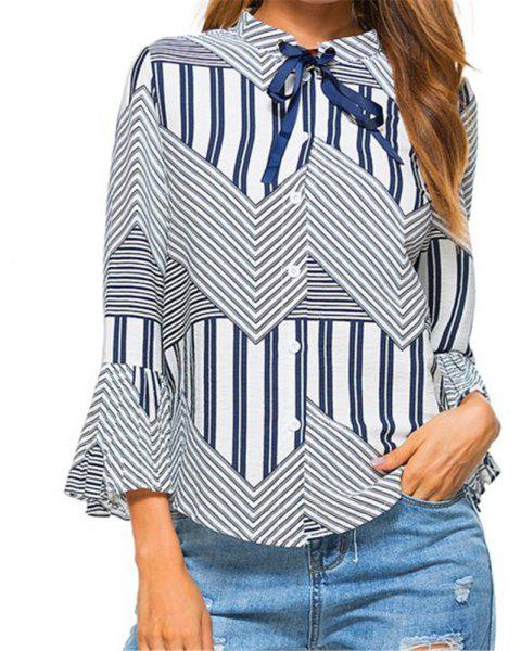 New Autumn Winter Plaid Contrast Color Flare Sleeve Shirt - BLUE L