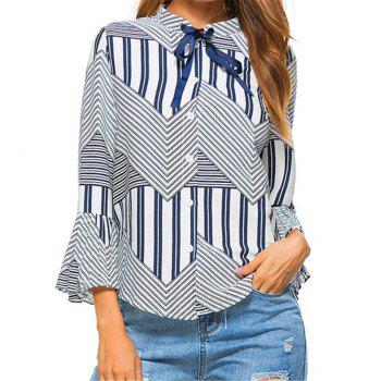 New Autumn Winter Plaid Contrast Color Flare Sleeve Shirt - BLUE BLUE