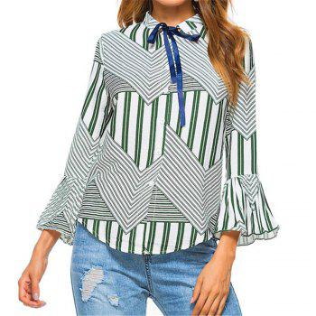 New Autumn Winter Plaid Contrast Color Flare Sleeve Shirt - IVY IVY