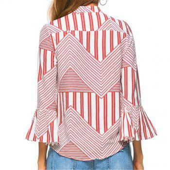 New Autumn Winter Plaid Contrast Color Flare Sleeve Shirt - RED RED
